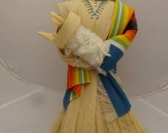 "14"" Corn Husk Indian Doll, Navajo by Sylvia Begaye, Arizona or New Mexico. NEW"
