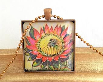 protea flower pendant, vintage postage stamp 1973 Burundi, large square necklace protea pendant