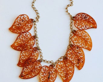 1930s celluloid and brass leaf necklace / 30s vintage burnt orange dangling autumn leaves collar necklace