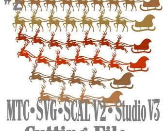 SVG Cut File Santa Sleigh with Reindeer Design #02 Bundle of 18 Borders Cut File MTC SCAL Cricut Silhouette Cutting File