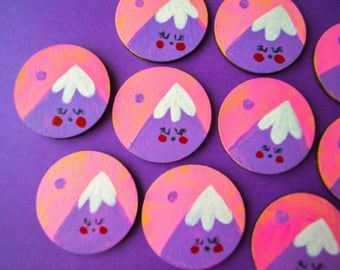 Mountain pin brooch - spring pin - wooden jewellery