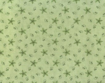 Green Floral Fabric, Olive Green Fabric, Floral Fabric, 00198