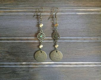 Live your Dream Charm Earrings-boho-dangle Earrings-bronze-teal
