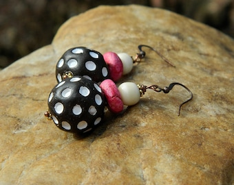 Clay Bead Dangling Earrings