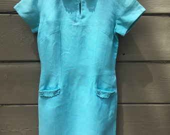 Impecable 60's Aqua Day Dress by I.Magnin & Co