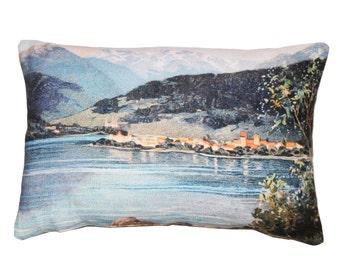 Linen cushion, Switzerland souvenir, cushion covers uk, landscape decorative pillows, living room décor, Swiss mountains scenery design