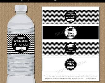 Graduation Water Bottle Labels Printable PDF, Black and White Graduation Water Bottle Stickers, EDITABLE Party Printables Download G3
