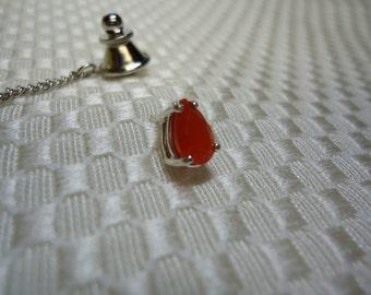 Pear Cut Orange Fire Opal Tie Tack in Sterling Silver   #776