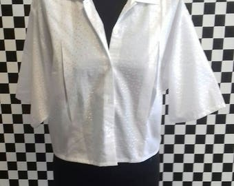 White cropped vintage shirt - M/L