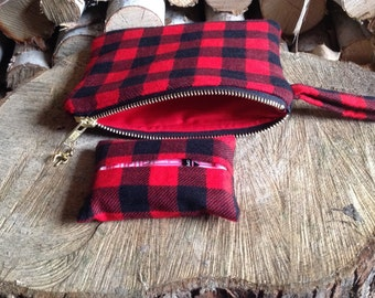 Buffalo Plaid Clutch Set, Gifts Under 30, Holiday Gift Idea For Her, Teenage Girl Gift, Birthday Gift, Christmas Gift, Modern Rustic Bag