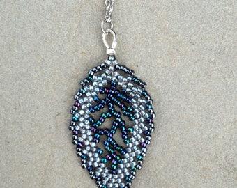 Elven Leaf necklace in Stormwind - Blue Leaf Necklace - Woodland Fairy - Forest Fantasy - Bridal Elf Jewelry - Blue Elvish Necklace