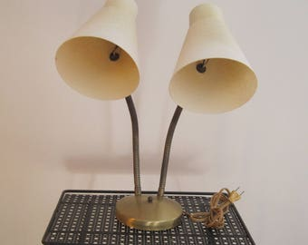 Double Goose Neck, Desk Lamp,Fiberglass Shades, Off White, Gold Tone Base, Vintage, Mid Century