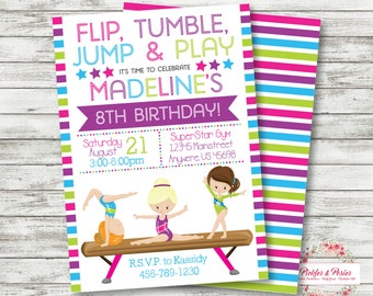 Gymnastics Invitation - Gymnastics Birthday Invitation - Tumbling Party - Cupcakes and Carwheels - PERSONALIZED - PRINTABLE Gymnastics Party