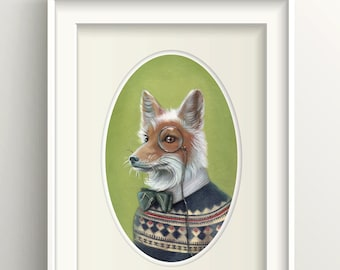 "Fox Art, Dapper Fox with Bow Tie and Monocle Painting, Fair Isle Sweater Print, Forest Animal Art Print, ""Oliver"""