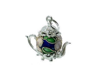 Sterling Silver & Dark Blue Cloisonné Teapot Charm For Bracelets