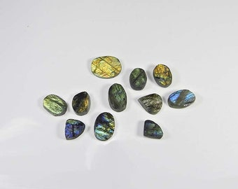 11 Pcs. High! Quality Gemstone Natural Labradorite Druzy Stone, Multi & Golden Flash Loose for jewellery Wholesale Price Lot 117 Cts MI06-66