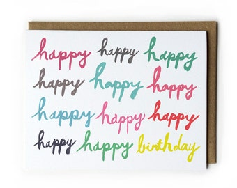 Happy Birthday Card, Birthday Card for Friend, Brush Lettering Card, Blank Greeting Card, A2, 4.25 x 5.5, Red, Green, Yellow, Grey