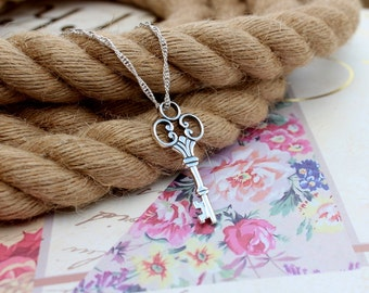 Skeleton key necklace, Sterling silver key necklace