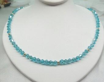 Light Blue Necklace Aquamarine Necklace Solid 14kt Gold Necklace Blue Crystal Necklace Adjustable Necklace Stamped 14k BuyAny3+Get1 Free