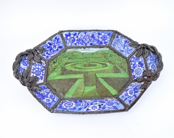 Ann Agee Studio Pottery Sculpture Victorian Inspired Platter Blue & White Labyrinth