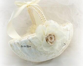 Ivory and Champagne Wedding Flower Girl Basket, Vintage Style Girl Basket with Pearls, Elegant