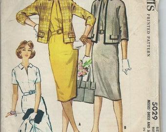 1959 VINTAGE McCALLS PATTERN Misses Dress & Jacket. 5029 Size 16. Bust 36.