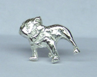 Bulldog Tie Tack Sterling Silver Free Domestic Shipping