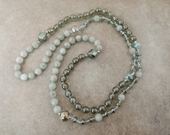 Happy Lucky Jade Long Beaded Necklace - Hand-knotted Gemstone Necklace - Item 1514