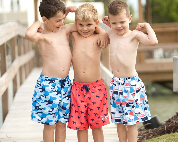 Boys Swim Trunks, Monogram Swim Trunks, Boys Monogrammed Swim Trunks, Boys Personalized Swimsuits, Swimsuit Sale