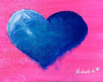 Blue Heart, Original Painting, Pink, OOAK, Valentine, Gift Under 30, Gift For Teen Girl, Bathroom Art, Wedding Gift, For Couples, Engagement