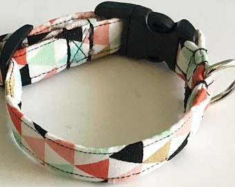 Geometric Triangle Dog and Cat Collar in Buckled or Martingale Style