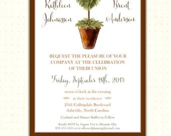 Wedding Invitation, classy, rustic, country, modern, casual, simple, elegant, garden, digital, printable, invites, W1492