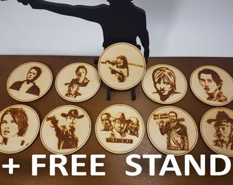 The Walking Dead 10 Coasters, Set of 10 with Stand, Walking Dead Gift, Wood, Laser, Christmas Gift.