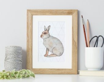 Animal print - hare - watercolour print - animal painting - mountain hare - rabbit art - hare gift - print for children - hare decor
