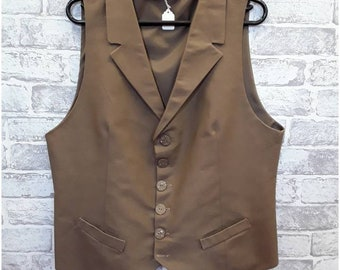 "Men's Linen Style Waistcoat, Men's Linen Style Vest, Men's Light Brown Vest, Men's Light Brown Waistcoat 40"" - 42"" Chest"
