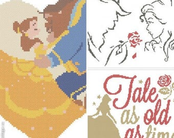 Set of 3 Beauty and the Beast  Tale as old as time Belle  Beast  Prince  cross stitch pdf Pattern - pdf pattern instant download