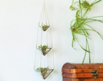 Air Plant Holder Mini 3 Tiered Faceted Clear Stained Glass Hanging Terrarium