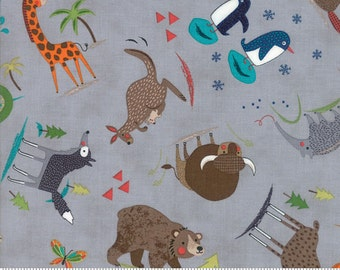 Hello World in Wild Things in Grey by Abi Hall from Moda - 1/2 yard