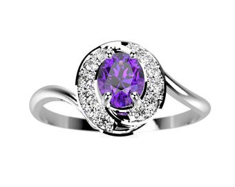 White Gold Amethyst Ring Amethyst Engagement Ring White Gold Engagement Ring Gemstone Engagement Ring Gemstone Ring February Birthstone