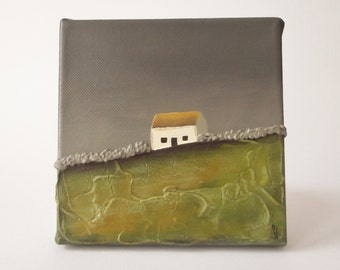 Stonewall Cottage 2 - textured art , small canvas , Ireland art , landscape art, original painting ,  6 x 6 inch