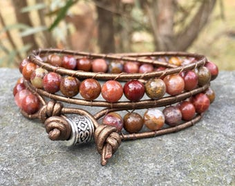 Red Bead Leather Wrap Bracelet - Large Bead Bracelet - Agate Bead Wrap - Leather Bracelet - Chan Luu Style - Small Wrist - Mother's Day
