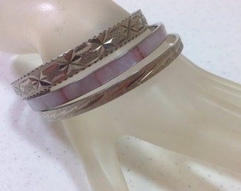 Vintage Lavender Mother of Pearl Bangle Bracelet with Two Silver Bangle Bracelets  2.5 Inch Diameter Previously Twenty One Dollars ON SALE