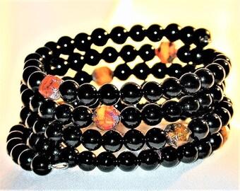 Black Agate & Lampwork Glass Bead Wrap Bracelet OOAK