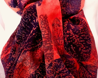 silk scarf hand painted Coral Leaves large long crepe unique coral navy gray wearable art women