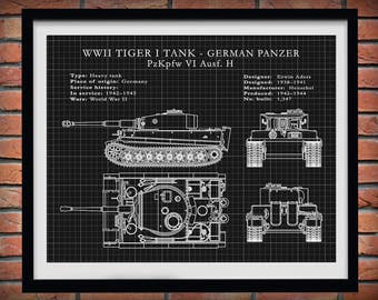 1942 Panzer Tiger I Tank Designed for the German Army WWI Military Drawing Illustration - Poster Print - Soldier Wall Art - WWII Wall Art