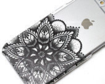 Last One, 2 Piece Case, lower blossom, Black Ink, Transparent Clear Phone Case fits iPhone 6 or iPhone 6s Only, Last 2 Piece Case