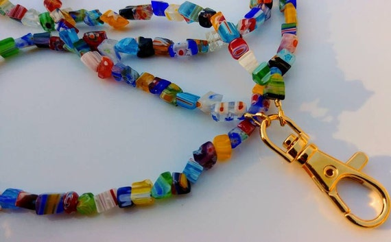 Coworker Gift, Colorful Millefiori Id Badge Lanyard, Work Id Badge Holder, Bead Lanyard