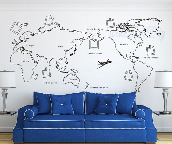 World map wall decal map wall sticker travel map wall decals gumiabroncs Choice Image