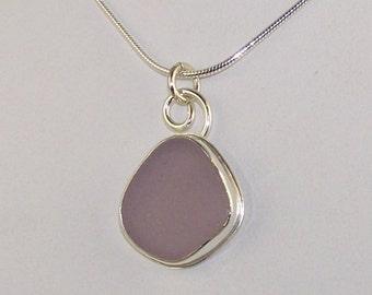 Lavender Sea Glass Bezel Pendant Necklace Maine
