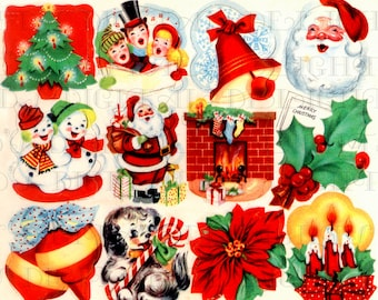 Retro DIGITAL Vintage Christmas STICKERS . Vintage Digital CHRISTMAS Illustrations. 1950s Digital Christmas Download. Digital Christmas Card